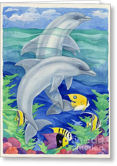 Sea Animals Greeting Cards - Dolphin Reef Greeting Card by Paul Brent