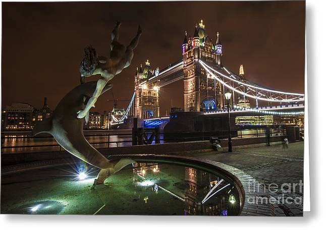 Night Scenes Greeting Cards - Dolphin Statue Tower Bridge Greeting Card by Donald Davis