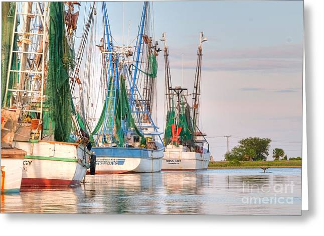 Scott Hansen Greeting Cards - Dolphin Tail - Docked Shrimp Boats Greeting Card by Scott Hansen