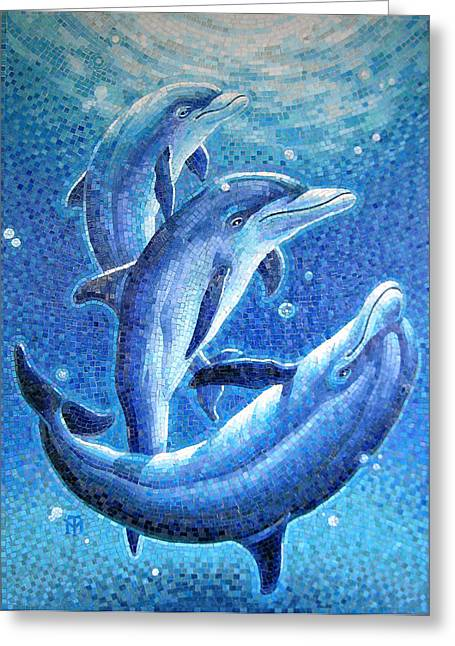 Glass Greeting Cards - Dolphin Trio Greeting Card by Mia Tavonatti
