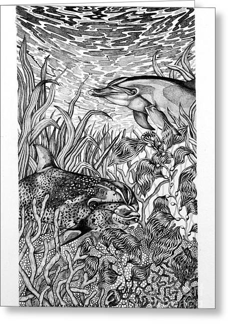 Ocean Mammals Drawings Greeting Cards - Dolphins at Play Greeting Card by Alison Caltrider