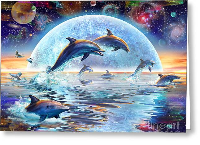 Dolphins by Moonlight Greeting Card by Adrian Chesterman