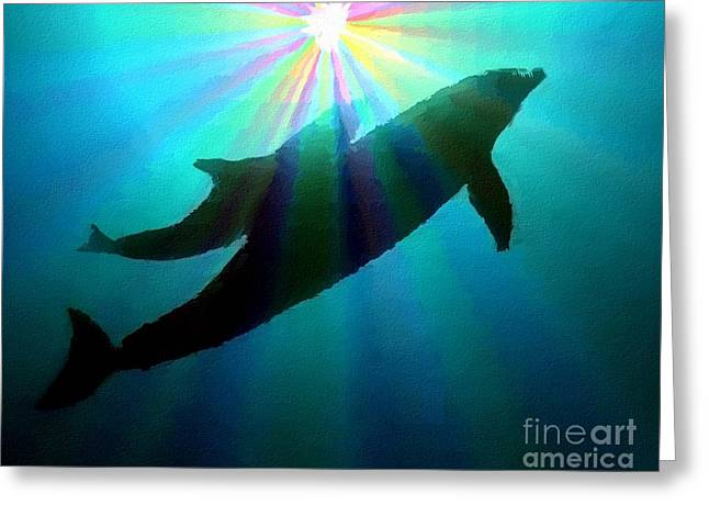 Sea Mammal Greeting Cards - Dolphins Greeting Card by Chris Butler