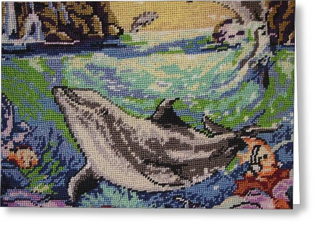 dolphins game Greeting Card by Eugen Mihalascu