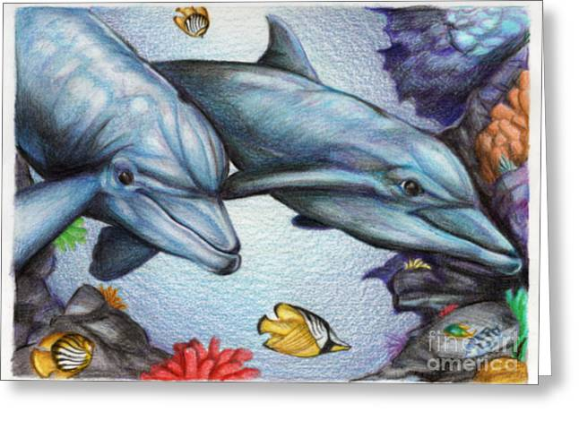 Reef Fish Drawings Greeting Cards - Dolphins in the Reef Greeting Card by Derrick Rathgeber