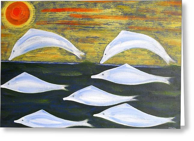 Dolphin Art Print Greeting Cards - Dolphins Greeting Card by Patrick J Murphy