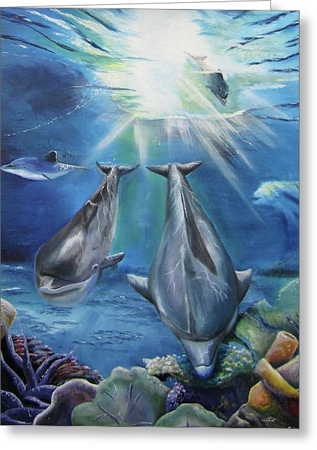 Maui Mixed Media Greeting Cards - Dolphins Playing Greeting Card by Thomas J Herring