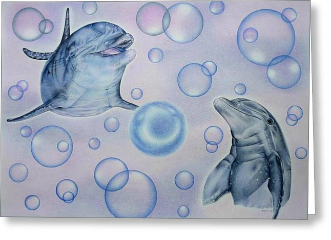 Ocean Mammals Drawings Greeting Cards - Dolphins Playing with Bubbles Greeting Card by Heidi Vormer
