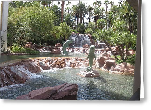 Wife Greeting Cards - DOLPHINS Water Parks n Canals in Las Vegas Greeting Card by Navin Joshi