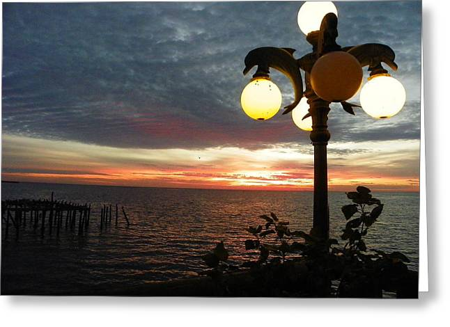 Cedar Key Greeting Cards - Dolpin Lamp And Sunrise I I Greeting Card by Sheri McLeroy
