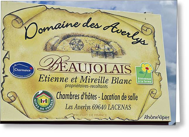 Beaujolais Greeting Cards - Domaine des Averlys Greeting Card by Allen Sheffield