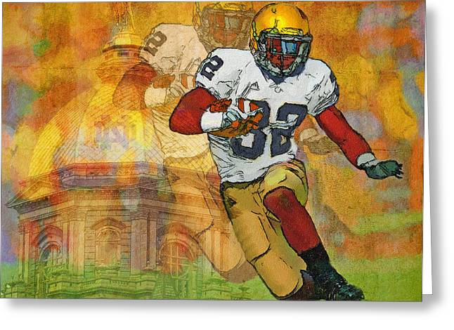 Running Back Paintings Greeting Cards - Dome and Back Greeting Card by John Farr