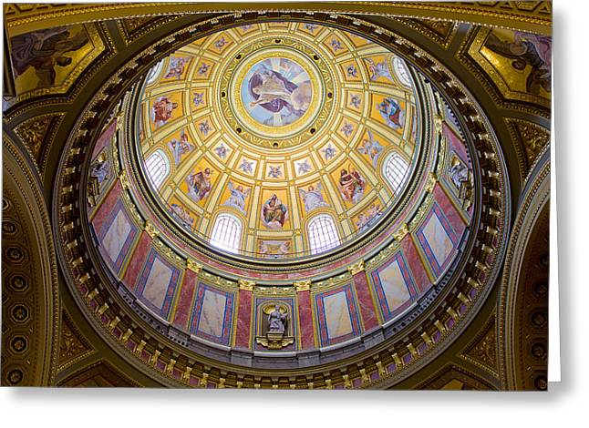 Cupola Greeting Cards - Dome Interior of the St Stephen Basilica in Budapest Greeting Card by Artur Bogacki