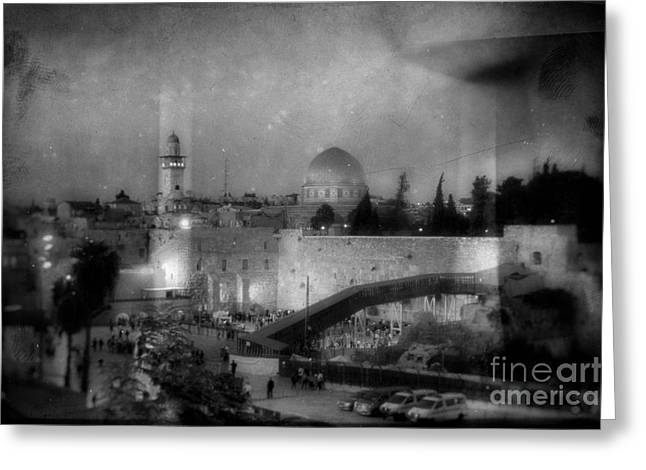 Old Western Photos Mixed Media Greeting Cards - Dome of the Rock In Israel - Abstract Version Greeting Card by Michael Braham