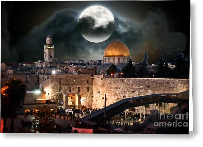 Old Western Photos Mixed Media Greeting Cards - Temple Mount In Israel - Series III Greeting Card by Michael Braham