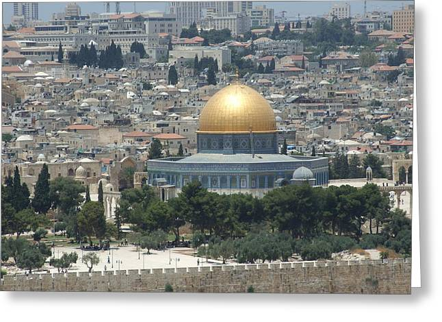 From The Dome Greeting Cards - Dome of the Rock in Jerusalem Greeting Card by Rebecca Lesses