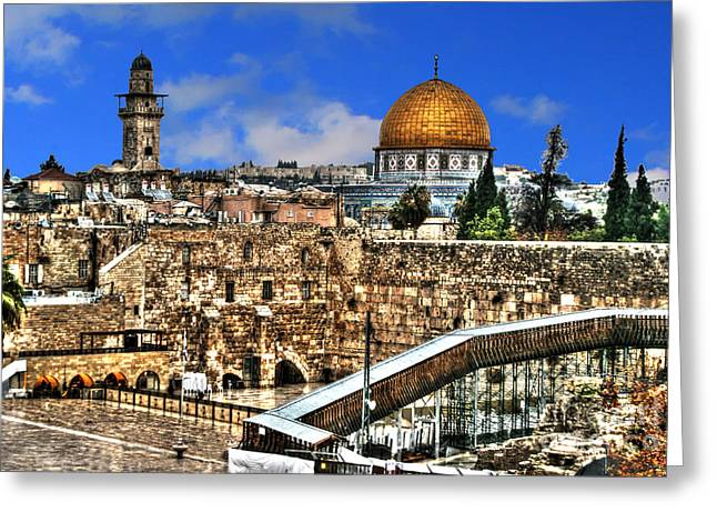 Old Western Photos Mixed Media Greeting Cards - Dome Of The Rock Greeting Card by Michael Braham