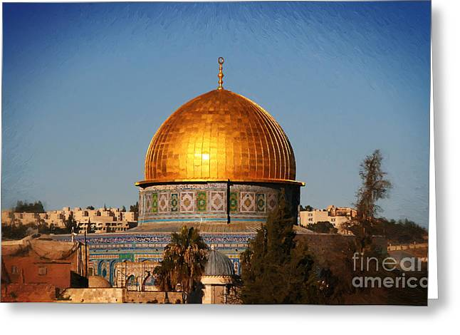 From The Dome Mixed Media Greeting Cards - Dome Of The Rock - Painted Greeting Card by Michael Braham