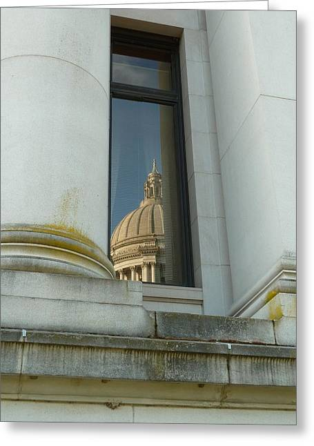 Political Decay Greeting Cards - Dome Reflection Greeting Card by Patricia Strand