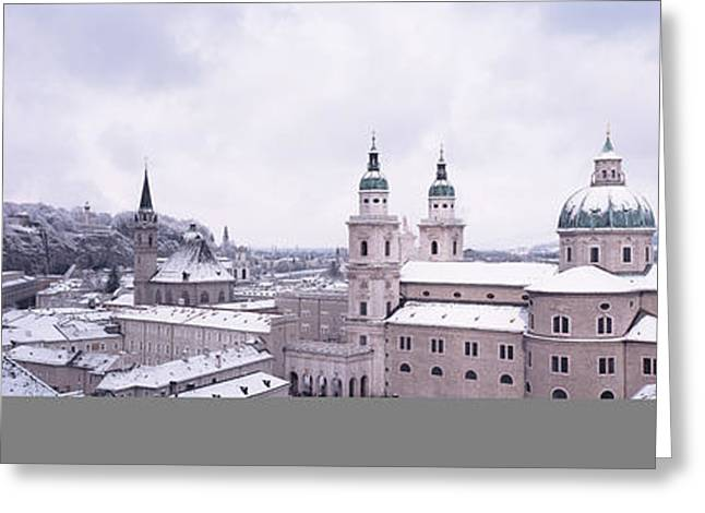 Grey Clouds Greeting Cards - Dome Salzburg Austria Greeting Card by Panoramic Images