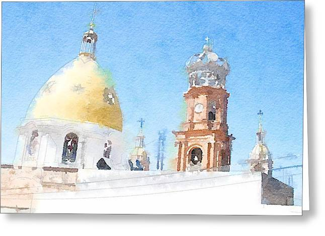 Warecolor Greeting Cards - Dome Greeting Card by Zak Mil