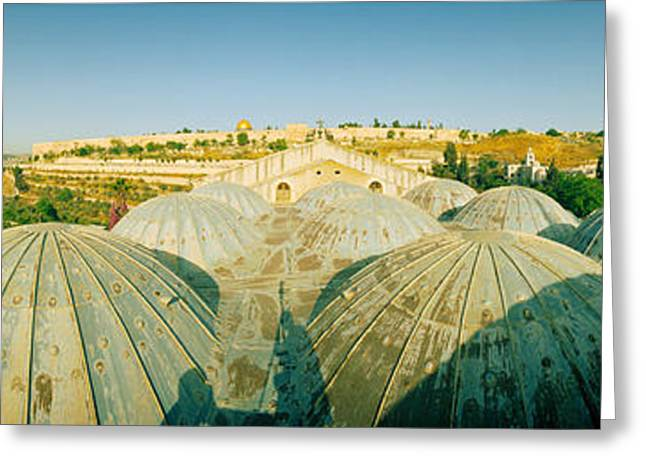 Mount Olives Greeting Cards - Domes At The Church Of All Nations Greeting Card by Panoramic Images