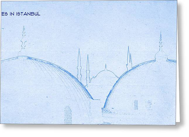 Istanbul Mixed Media Greeting Cards - Domes in Istanbul - BluePrint Drawing Greeting Card by MotionAge Designs