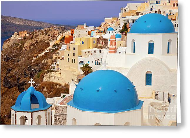 Domes Of Santorini Greeting Card by Brian Jannsen
