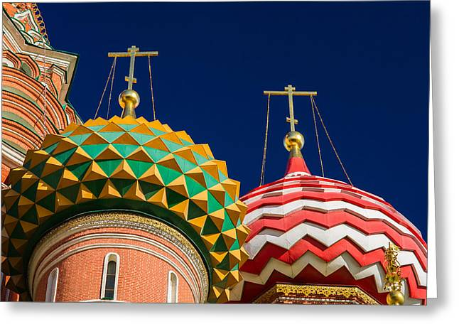 Medieval Temple Greeting Cards - Domes Of Vasily The Blessed Cathedral - Feature 3 Greeting Card by Alexander Senin