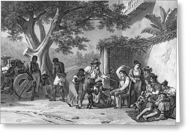 Slavery Greeting Cards - Domestic Chastisements, Engraved Greeting Card by Johann Moritz Rugendas