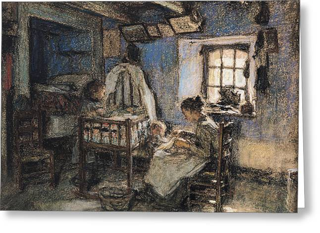 Pa Greeting Cards - Domestic Interior, Wissant, 1913 Pastel On Paper Greeting Card by Leon Augustin Lhermitte