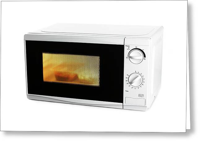 Domestic Microwave Oven Greeting Card by Science Photo Library