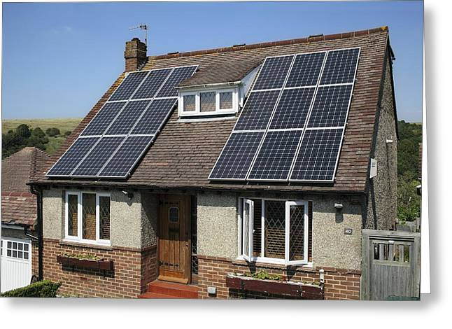 Solar Power Greeting Cards - Domestic solar power Greeting Card by Science Photo Library