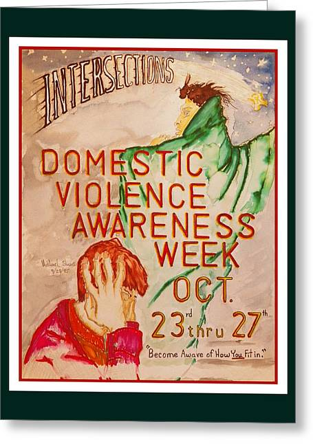 Work Greeting Cards - Domestic Violence Poster Greeting Card by Michael Shone SR