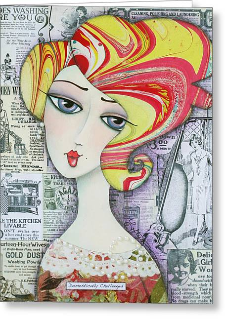 Marble Eye Mixed Media Greeting Cards - Domestically Challenged Greeting Card by Joann Loftus