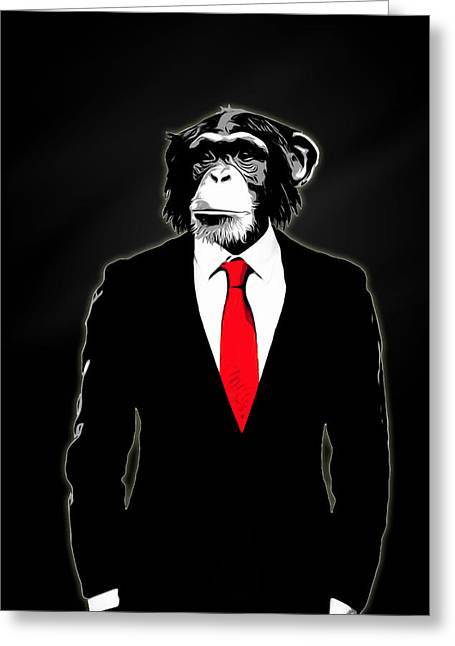 Chimpanzee Greeting Cards - Domesticated Monkey Greeting Card by Nicklas Gustafsson