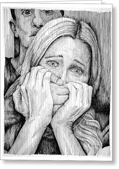Anger Drawings Greeting Cards - Domesticity Greeting Card by Frank Papandrea