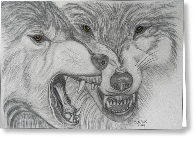 Graphite Pastels Greeting Cards - Dominance Greeting Card by Cheryl McKeeth