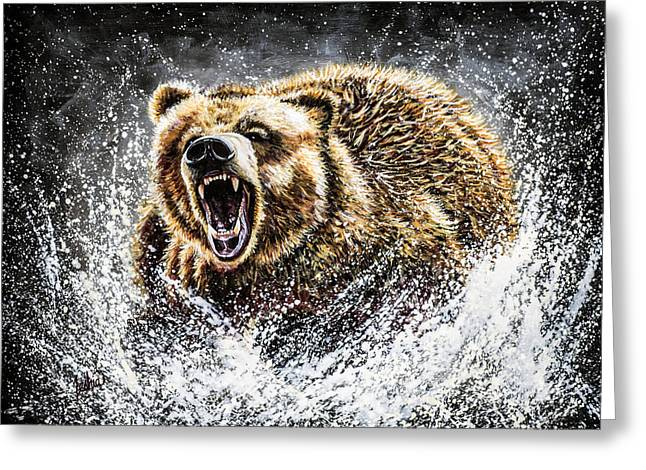 Wild Animals Paintings Greeting Cards - Dominance Greeting Card by Teshia Art