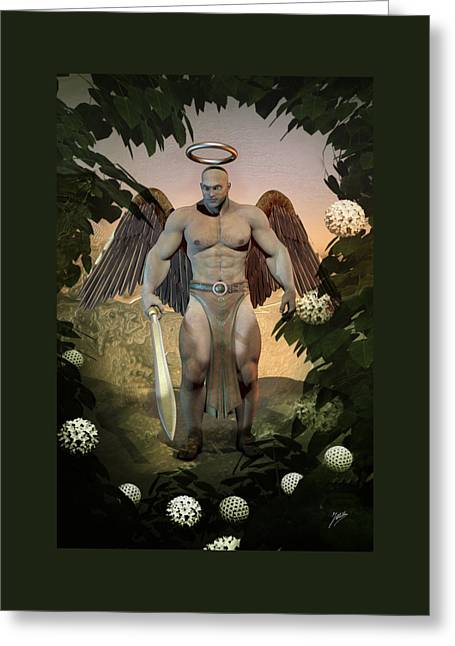 Archangel Mixed Media Greeting Cards - Dominant Angel Greeting Card by Quim Abella