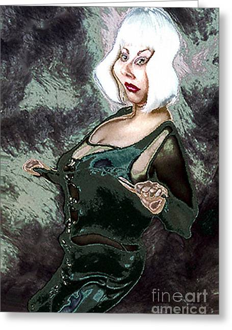 Photography By Govan. Vertical Format Greeting Cards - Dominatrix Caricature Greeting Card by Andrew Govan Dantzler