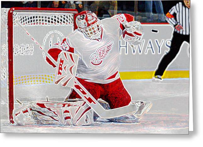 Vezina Greeting Cards - Dominic Hasek Greeting Card by Don Olea