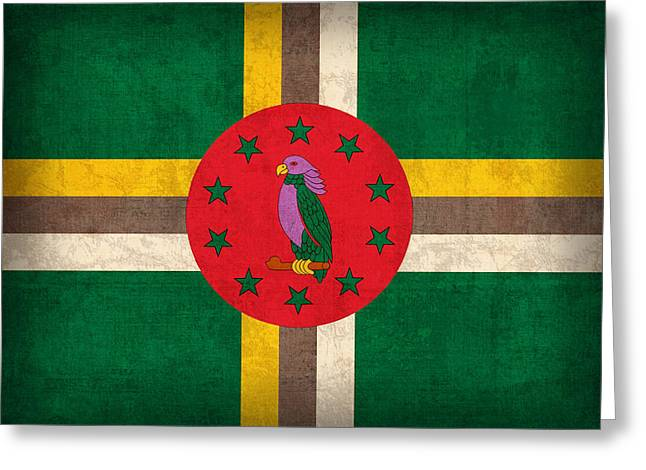 Dominica Flag Vintage Distressed Finish Greeting Card by Design Turnpike
