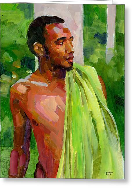 Hispaniola Greeting Cards - Dominican Boy with Towel Greeting Card by Douglas Simonson
