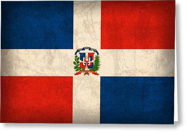 Dominican Greeting Cards - Dominican Republic Flag Vintage Distressed Finish Greeting Card by Design Turnpike