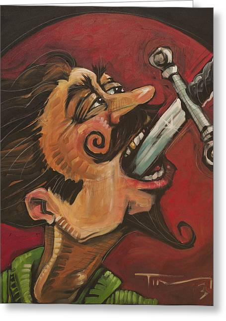 Swallower Greeting Cards - Dominick the Daring Greeting Card by Tim Nyberg