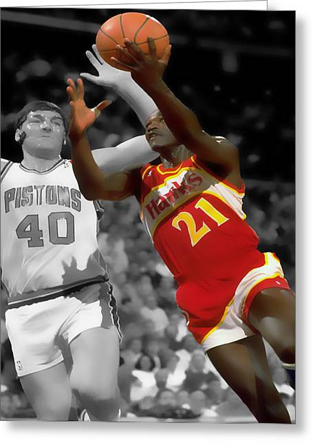 Miami Heat Digital Art Greeting Cards - Dominique Wilkins and Bill Laimbeer Greeting Card by Brian Reaves