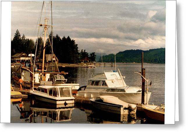 Docked Boats Greeting Cards - Domino at Alderbrook on Hood Canal Greeting Card by Jack Pumphrey
