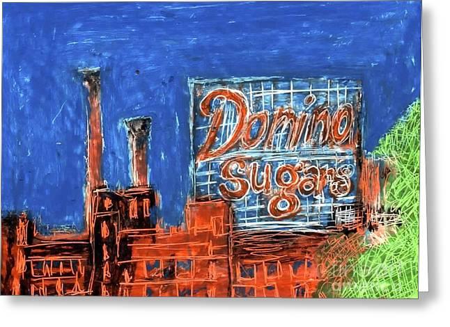 Baltimore Pastels Greeting Cards - Domino Sugars Greeting Card by Nicki Jergensen