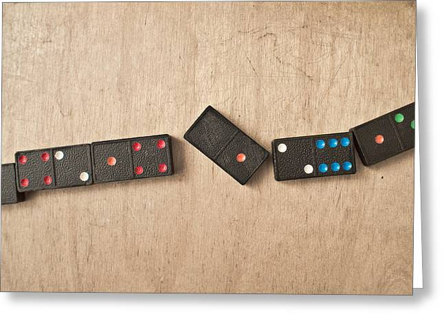 Sequence Greeting Cards - Dominoes Greeting Card by Tom Gowanlock